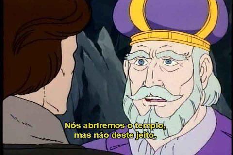 Príncipe Droga conversa com Rei Travar, devidamente trajado