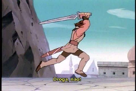 Príncipe Droga corre com a espada acima da cabeça