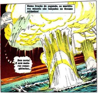 Mísseis desviados pelo Super-Homem explodem no meio do oceano
