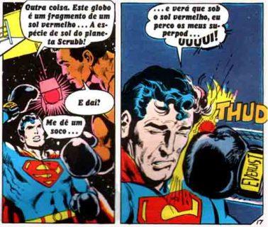 Super-Homem liga a luz do sol vermelho e pede para Ali lhe dar um soco, o que ele atende