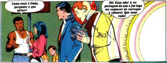 Muhammad Ali fala ao microfone com Miriam. Clark observa e Jimmy lamenta ter esquecido de carregar a câmera